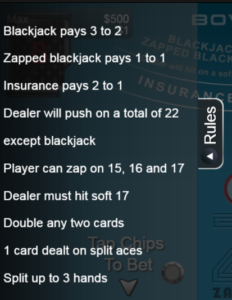 Zappit blackjack rules